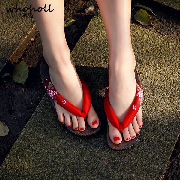 WHOHOLL Women Sandals Wooden Flip-flops Female Summer Wedge Sandals for Female Antiskid Beach Shoes Japanese Geta Clogs Women