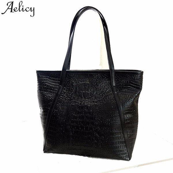 2019 Fashion Aelicy Large Capacity Women Crocodile Shoulder Bag Vintage Big Tote Bags for Ladies Handbags Women Black Shoulder Bag Leather