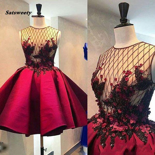 Cristal Abiye 3D Fleur Court Robes De Bal Illusion Vin Rouge Puffy Robe De Cocktail De Mode Robes De Fête Formelles 2019 Abendkleider