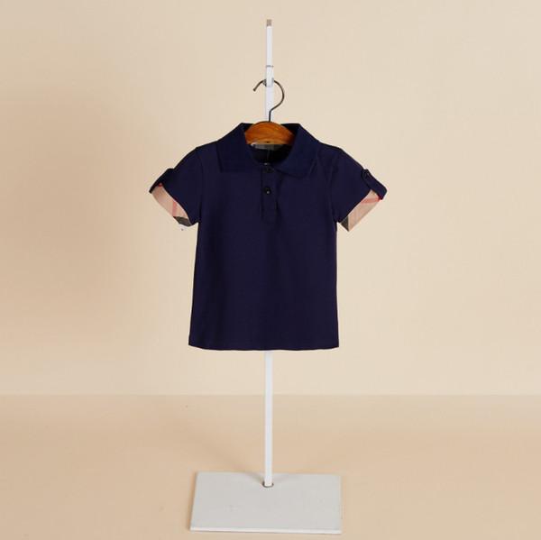 top popular 2019 Summer new boys T-shirt kids lapel plaid short sleeve shirts fashion Tee kids clothes children cotton Boy casual tops 2020