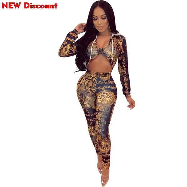 Bodys Woman Summer 2019 Sexy V Neck Jumpsuit Women Hooded Long Sleeve Party Catsuit Front Hollow Vintage Printed Bodycon Overall