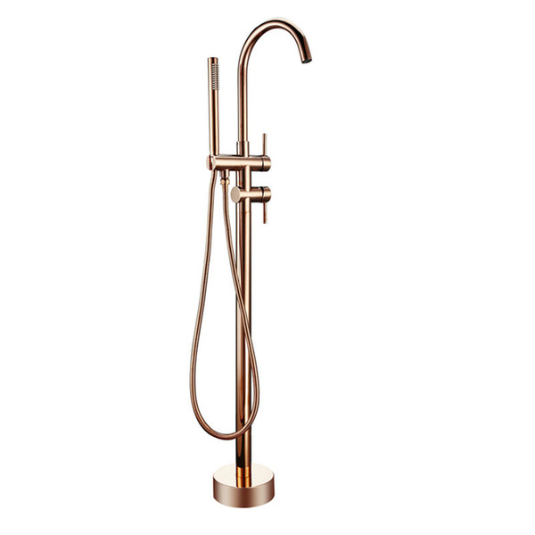 top popular Bathroom Taps Brass Shower Diverter Floor Standing Bathtub Spout Mixer Tap Faucet Rose Gold for Bath 10 Year Warranty 2021