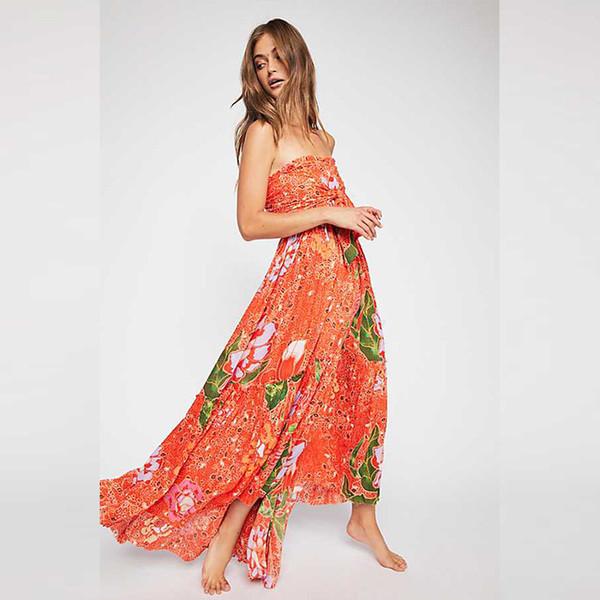 Summer Bohemia Fashion Florals da donna Dress senza spalline Fiori Dress Lady Long Abiti Orange Navy C4578