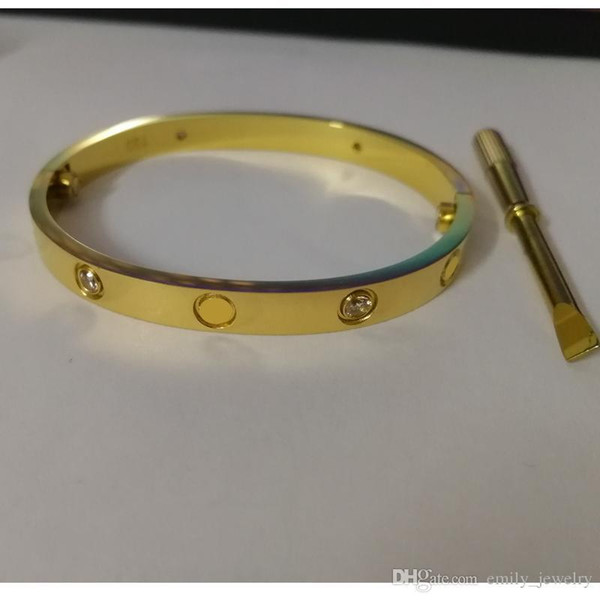 Brazaletes de tornillo de amor de lujo de acero titanio 316L especial de EE. UU. Con pulseras de destornillador de piedra cz para mujeres pulseras con bolsa original