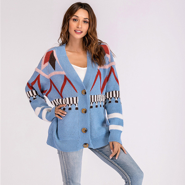 Christmas Sweater Womens.2018 Autumn And Winter Christmas Sweater Women S Sweater New Year Long Sleeved Printed Loose Sweaters Top Knitted Cardigan Plus Size From Zhenhuang