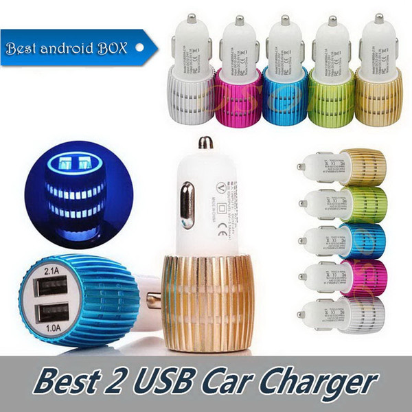 Hot Car Charge Fast Quick 2.1A 1A LED Fast Charging Car Charger Adaptive fast Charging Adapter Charger For iPhone Samsung Cellphone