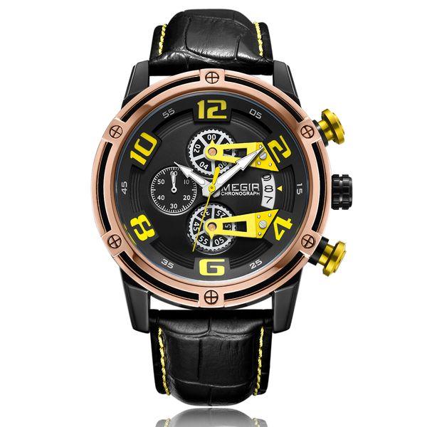 BRW Men's Genuine Leather Quartz Sports Watches Top Brand Luxury Military Stop Watch Waterproof Wrist Watch Relogio Masculino