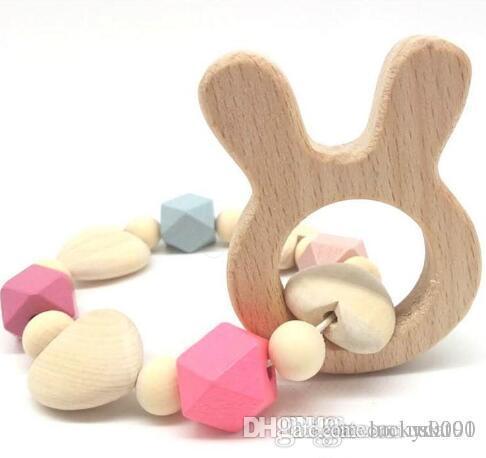 UK fortunato nuovo Ins stile dell'Europa infantile del bambino di legno del braccialetto di dentizione Nursing Perline di legno Massaggiagengive neonato naturali Teether Giocattoli