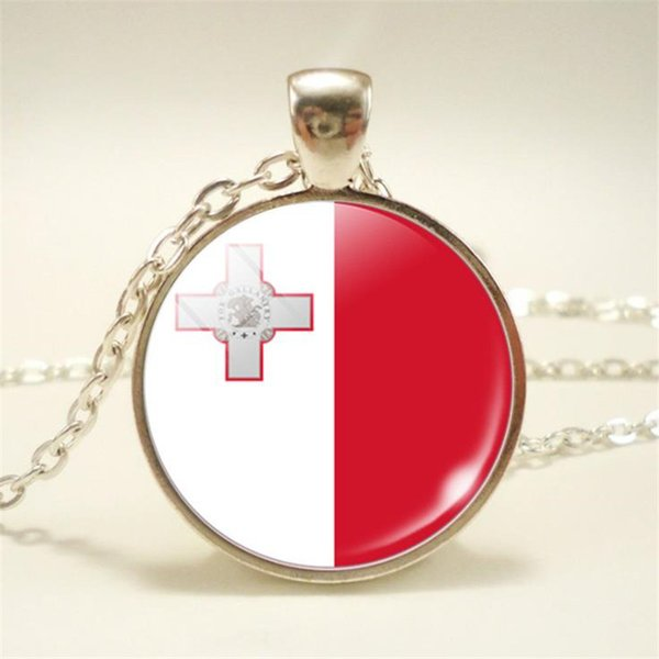 New Many Styles Time Gem Glass Cabochon Malta National Flag World Cup Football Fan Choker Necklace Long Chain Pendants For Women Men Jewelry