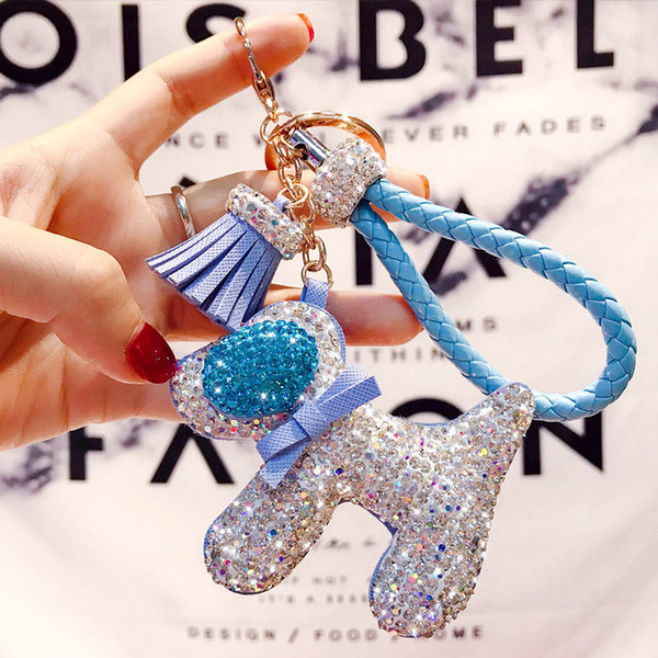 2019 Hot Sale Key Chain with Crystal Gold Plated Dog Keychain Rings Car Pendant Jewelry Fashion for Girls Dress Bag Chain Women Gift