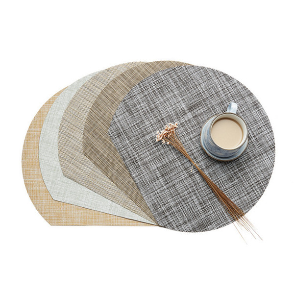Semilune Table Dinner Mat 5 Colors PVC Weave Kitchen Table Pad Non-slip Bowl Pads Coasters Western Style Table Decor 5 Pieces ePacket