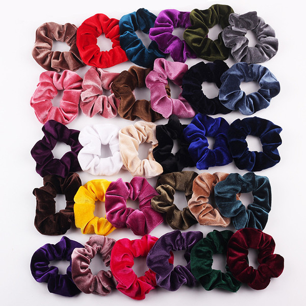 top popular Girl Women's Velvet Hair Scrunchies Tie Accessories Ponytail Holder Scrunchy Hair bands velour Hair loop Pleuche Headwear 50pcs FJ3362 2020