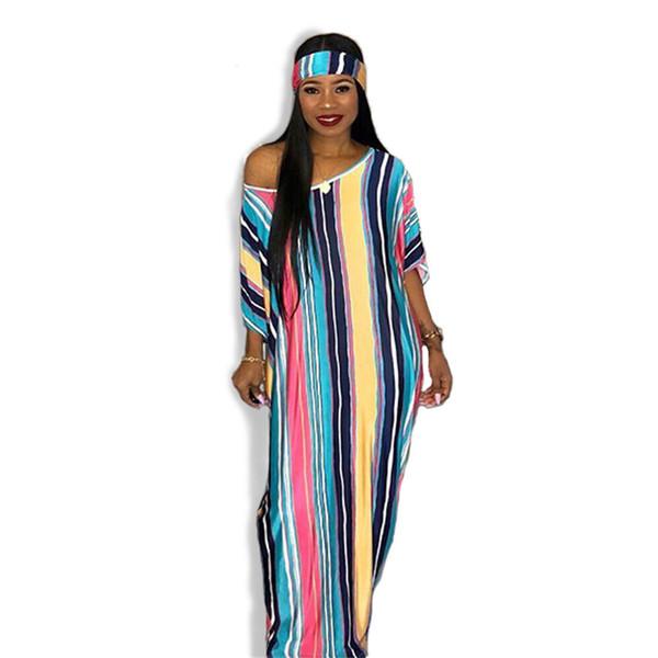 Women Dresses Scarf Stripe Print Autumn Half Sleeve Loose Lady women fashion sexy Bandage casual nightclub Long Maxi dress