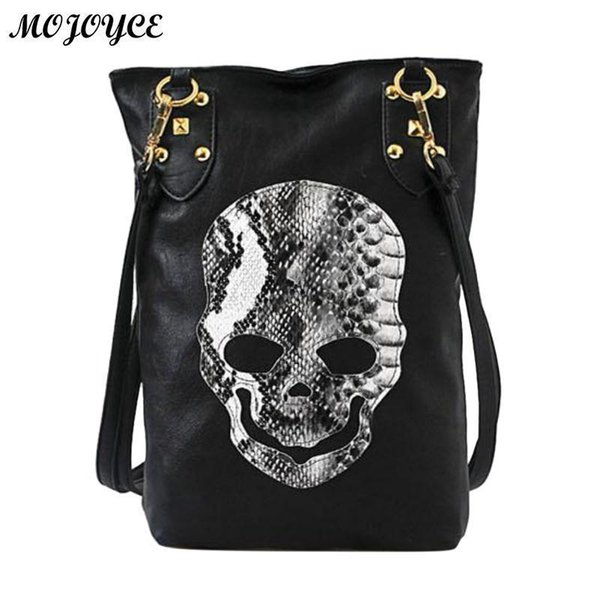 Women Skull Shoulder Bags Female PU Leather Solid Punk Shoulder Bag Fashion Soft Women Handbags Black Large Lady Tote Bag Nice