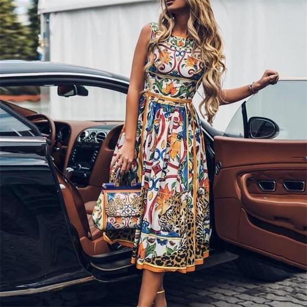 Vestido de talla grande Vestido de verano 2019 Sin mangas Retro Túnica Estampado floral Vintage Vestidos de fiesta elegantes Vestidos Midi para mujeres