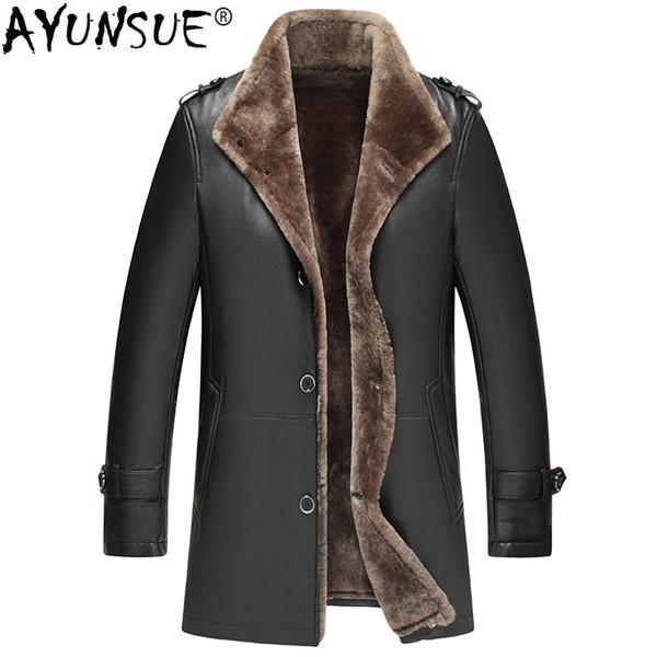 AYUNSUE Genuine Sheepskin Leather Jacket Men Winter Sheepskin Coat Real Wool Fur Liner Motorcycle Jacket Man Warm KJ1582