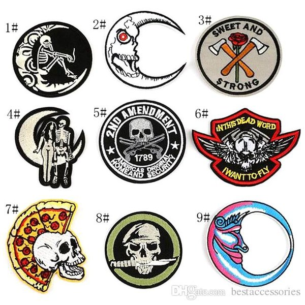 8P-24 Hot sale embroidered tactical patches iron on patch Armband skull Army patch for jacket/cap accessories