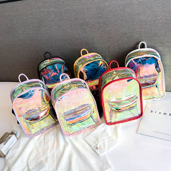 best selling 6styles Laser Clear Backpack Summer Shining Jelly fashion Backpack Hologram Waterproof Beach Travel Transparent Shoulder School Bag FFA1997