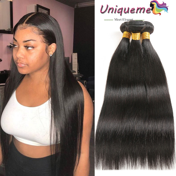 Professional Salon Straight Hair Weave Mongolian Hair 3Bundles 100% Human Hair Extensions Natural Black For African American Women Hairstyle