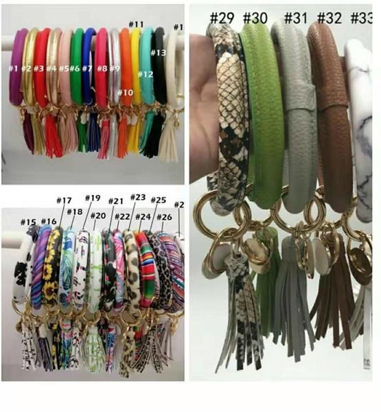 best selling Big Customer Discount PU Leather tassel Sunflower bracelet keychain Leopard Sunflower Cactus Round Leather tassel Bangle Key ring 46 Colors