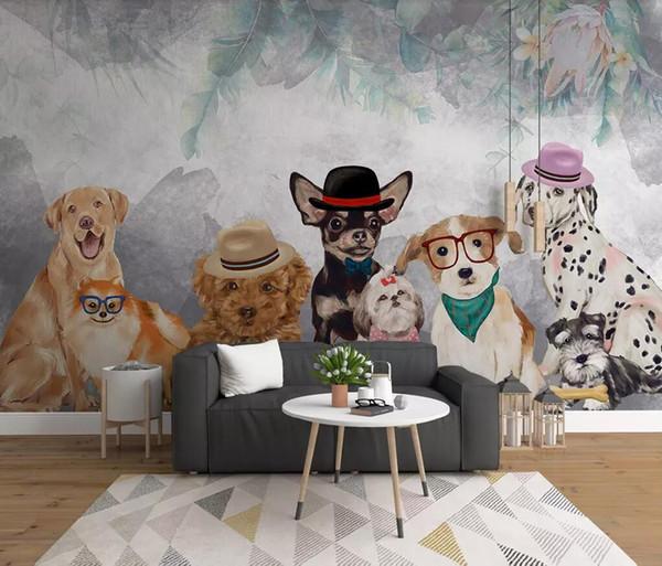 Fotobehang 6 Meter Breed.Custom Customized Modern Minimalist Cartoon Hand Painted Pet Puppy Personality Restaurant Pet Shop Background Wall Wallpaper Behang Mural Hd Wallpaper