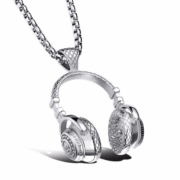 Men Hip Hop Music Headphone Pendant Chain Necklaces Shellhard Vintage Titanium steel Long Choker For Rapper Charm Unisex Jewelry