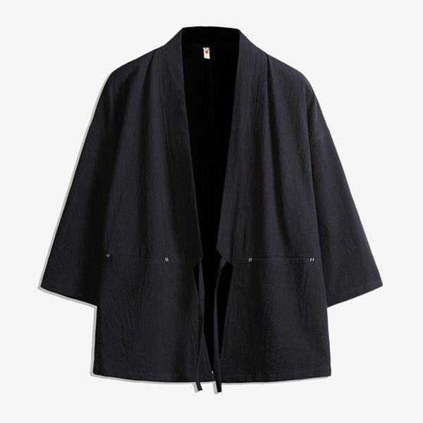 Casuais mens CottonLinen fina Retro Kimono Jacket estilo Chinês Robe homens cor Sólida Solto Cardigan Blusão plus size 5XL