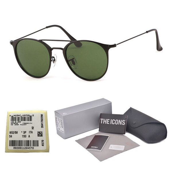 Top quality gradient Glass lens Brand Designer Round sunglasses men women metal frame Sport Vintage sun glasses With Retail case and label