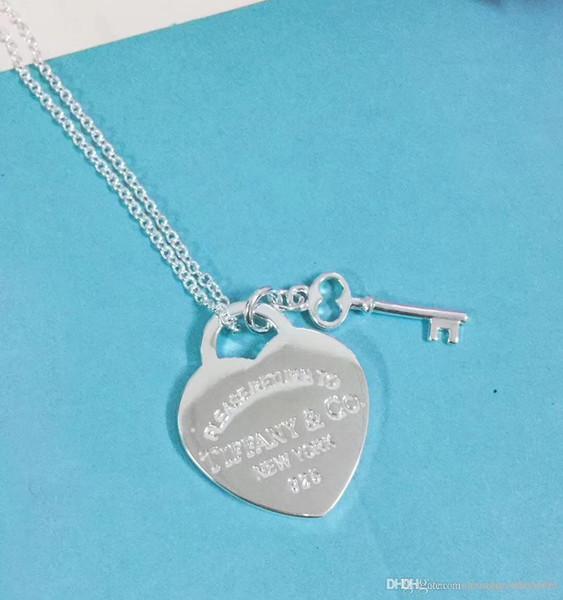 Nlm99 style luxueux S925 en argent sterling et collier avec pendentif de marque avec coeur et clé shpae pour bijoux de cadeau de mariage pour femme PS6109