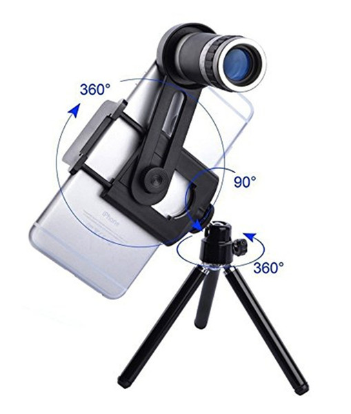 2019 New 8x Zoom Telephoto Phone Lens Optical Telescope Camera Kit + Mini Tripod For iPhone Samsung Others Smartphones with Retail Box