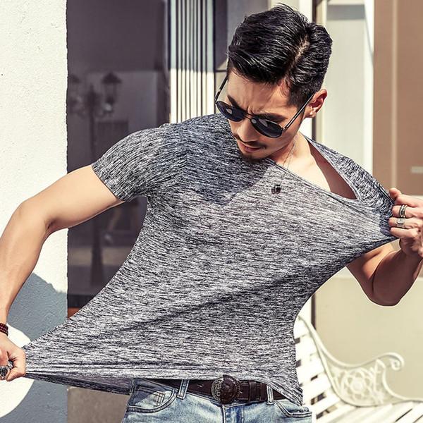 Nueva camiseta Hombre Primavera Otoño Moda Hombre Camiseta Slim Fit O Cuello Manga corta Músculo Casual Tops Camisetas 1902