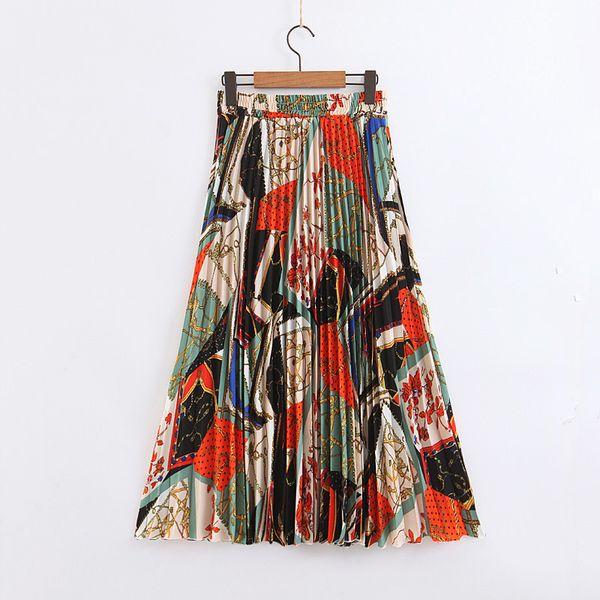 QZ911 Retro Color Block Chain Print Faltenrock Urlaub elastische Taille Röcke Saias