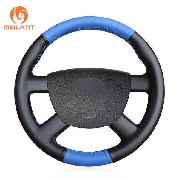 MEWANT Black Blue Artificial Leather Car Steering Wheel Cover for Ford Kuga 2008-2011 Focus 2 2005-2011 C-MAX 2007-2010 Transit