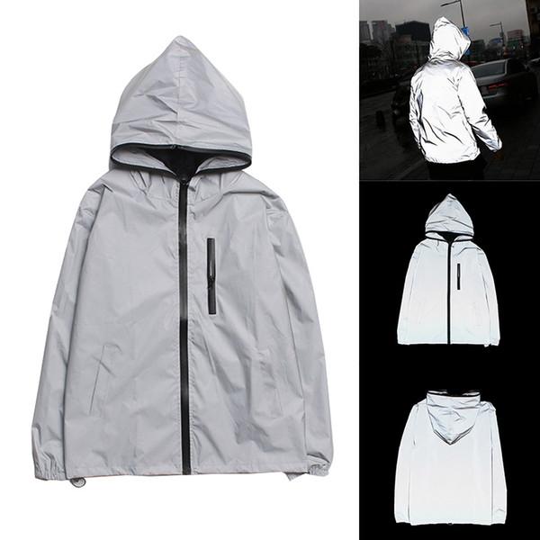 Erkek Lüks WINDBREAKER Sonbahar Japon Ceket Yansıtıcı Moda Ceket Erkek Ceket Kış Coat Boyut S-4XL