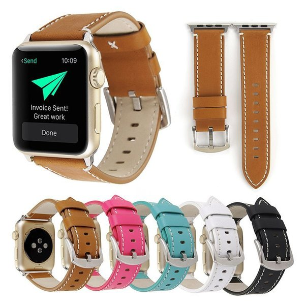 Compatible with Apple Watch cowhide watchband 44mm 42mm 38mm 40mm Genuine Leather for iWatch Series 1 2 3 4