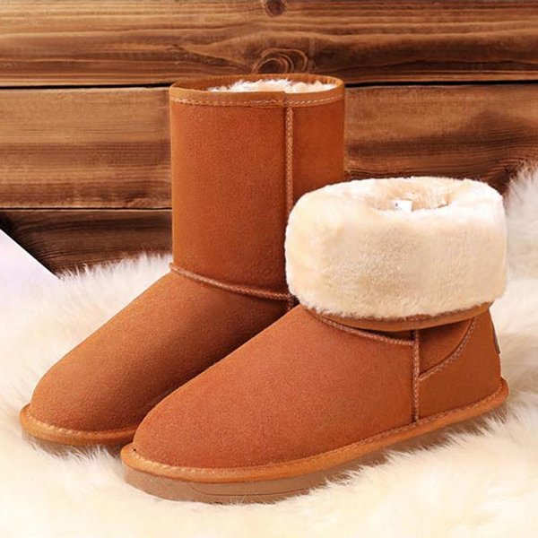 rimocy fur lined warm snow boots women winter suede mid-calf boots brown platform flat botas mujer 2019 nonslip warm shoes woman