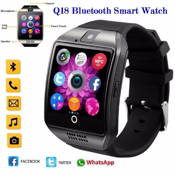 2019 Hot Q18s Bluetooth Smart Watch Support 2g Gsm Sim Card Audio Camera Fitness Tracker Smartwatch For Android Ios Mobile Phone MX190716