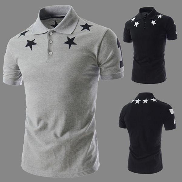 Impreso estrellas casual para hombre camisetas Diseñador de Verano Hombre Mujer gira el collar abajo camisetas de manga corta