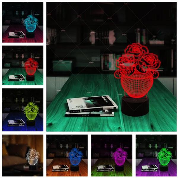 Sıcak Romantik Gül Çiçek Vazo 3D Led USB Gece Işığı Lambası 7 Renk Değiştirme Çocuk Ev Yatak Odası Parti Dekoru Aydınlatma Aşk sevgililer Günü hediye