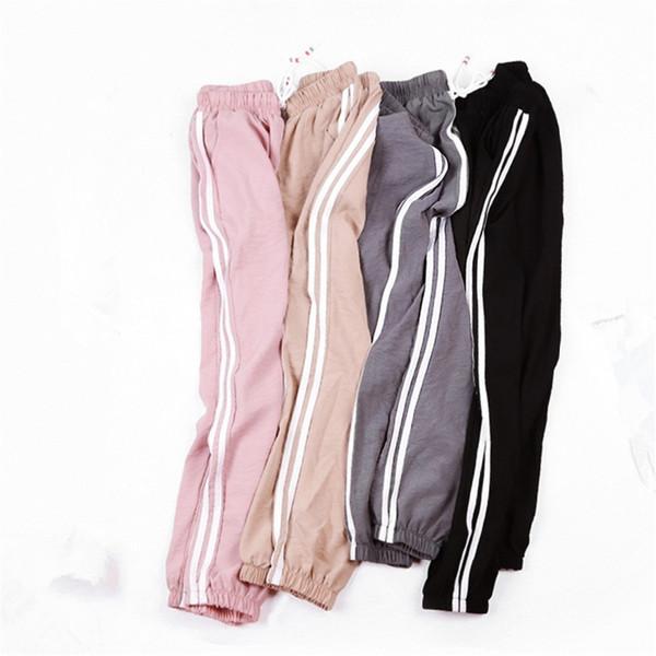 Women Leggings Contrast Striped Fitness Leggings Women Black Casual Slim Cotton Tapered Pants 2018 Elastic Waist Workout Legging C19040801