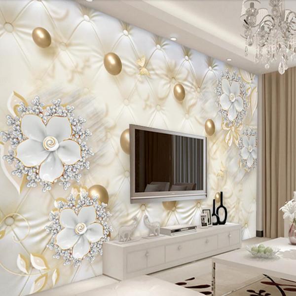 Arkadi Custom 3d wallpaper 3d luxury white flowers soft bag ball jewelry wall paper sofa living room bedroom TV wall arkadi