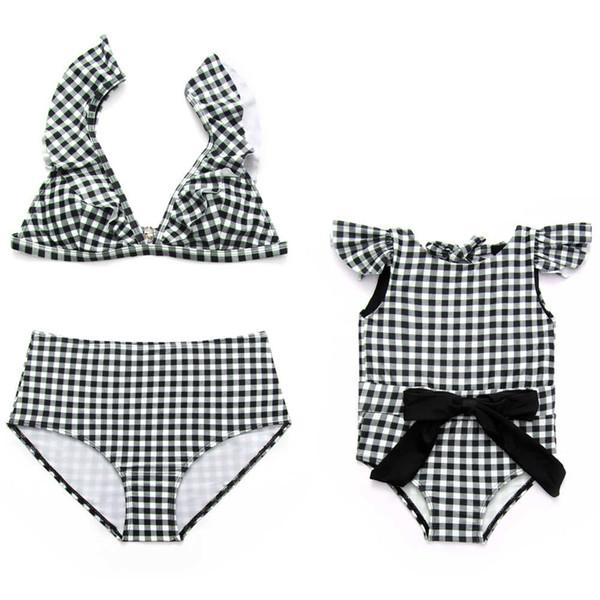 a5a57cfc22bc8 Parent-Child Swimsuit Plaid Swimwear 2018 Mom Daughter Bikini Girls  Monokini Women High Waist Biquini