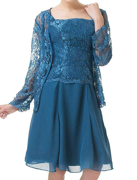 2019 Charming Chiffon Lace Women's Two Pieces Mother Of The Bride Dresses Knee Length With Jacket Formal Party Gowns Plus Size Prom Dress