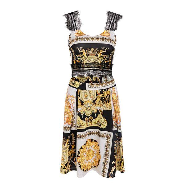 Paisley Print Vintage Knit Gold Women Dress Sexy Boho Party Elegant Midi Short Dress Summer Beach Lace Patchwork Dress