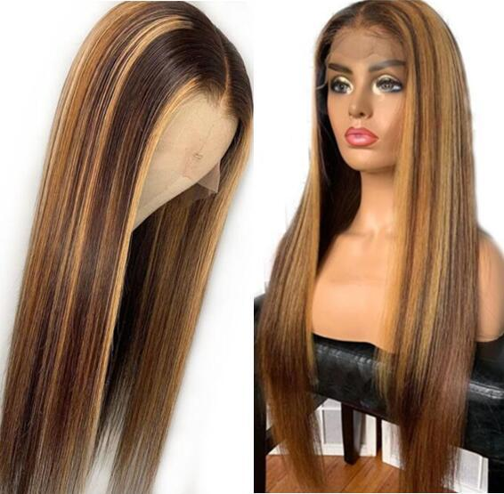 Two Tone Ombre Highlight Lace Front Wigs Silky Straight 10A Chinese Virgin Remy Human Hair Full Lace Wigs for Black Woman Free Shipping