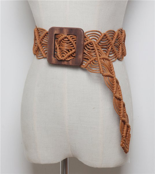 Vintage Design WAX CORD Knitted Waist Belts For WOmen Square Wooden Buckle Weaving Rope Braided Bead Corset Strap Dress Belts