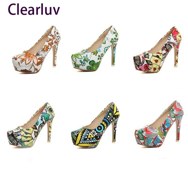 Dress Shoes Women Sexy Pumps High Heels Ladies Floral Printing Shallow Slip On Pointed Toe Office Female Fashion Footwear Size 34-42