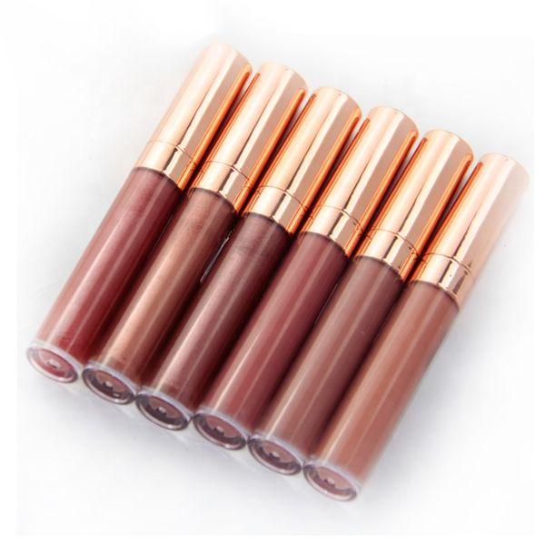No label nude colors shiny lip gloss moisturizing glitter liquid lipstick Rose Tube Glossy Shimmer Lip Gloss Waterproof Makeup Lips Gloss