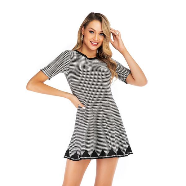 2019 новое плед трикотажное платье женские летние А-образные платья-карандаши мода элегантное деловое платье повседневные платья