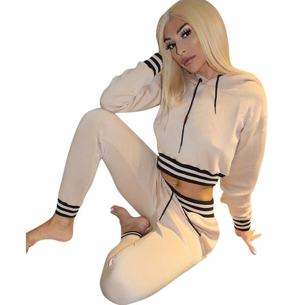 Brand Designer women crop top 2 piece set tracksuit striped hoodie leggings outfits sweatshirt tights sportswear pant sweatsuit